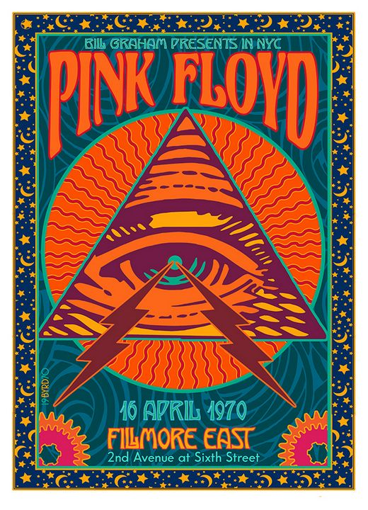 PINK JLOYD at the Fillmore East 1970 - David Edward Byrd Posters