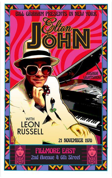 ELTON JOHN Fillmore East Debut 1970 - David Edward Byrd Posters