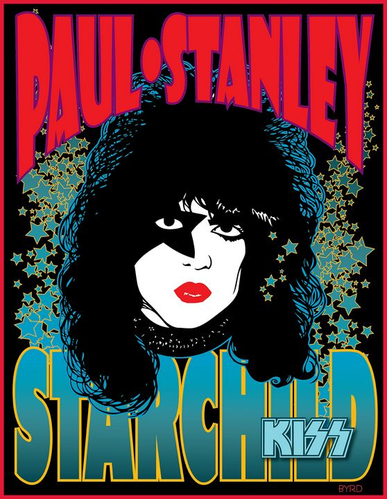 PAUL STANLEY portrait for 1978 Solo - David Edward Byrd Posters