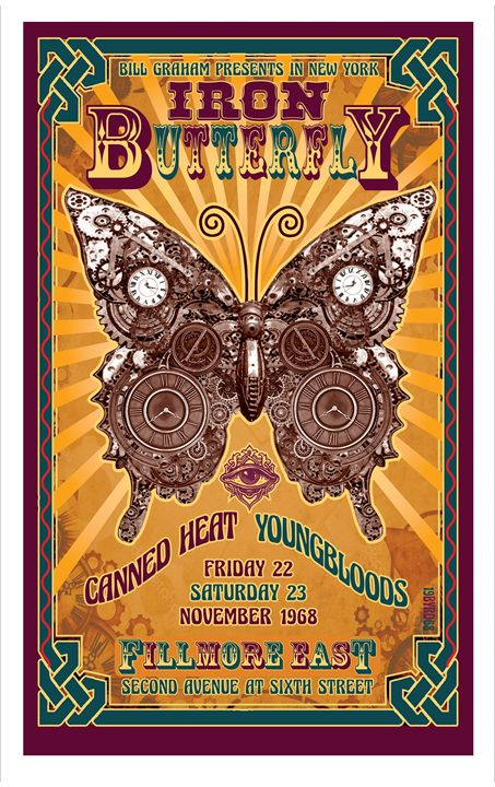 IRON BUTTERFLY FILLMORE EAST 69 - David Edward Byrd Posters