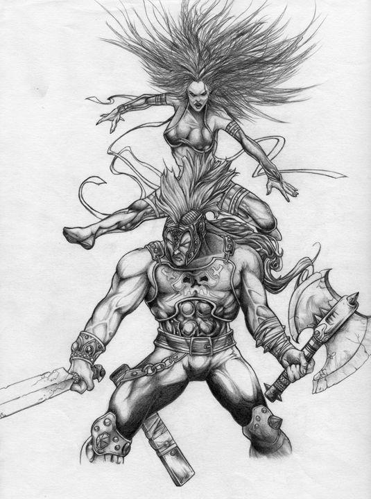 Psylocke and Ares - Ian Westleigh Designs