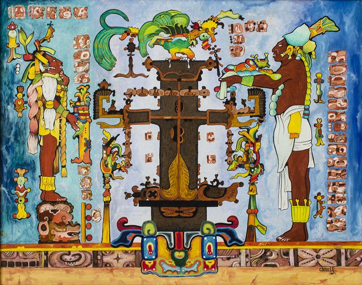 Cross of Palenque - Mayan Art by Carlos Nava San Román