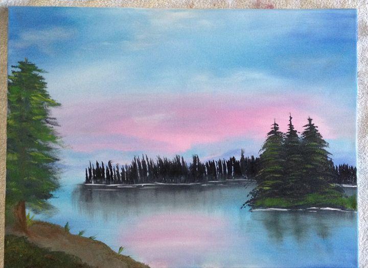 Tranquil lake - Original oil