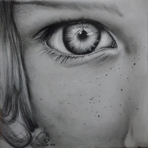 Realistic black pencil drawing