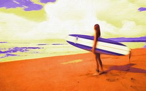 Surfer Girl in Orange and Purple