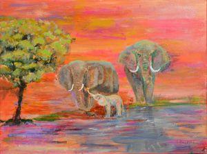 The Waterhole Elephant Family