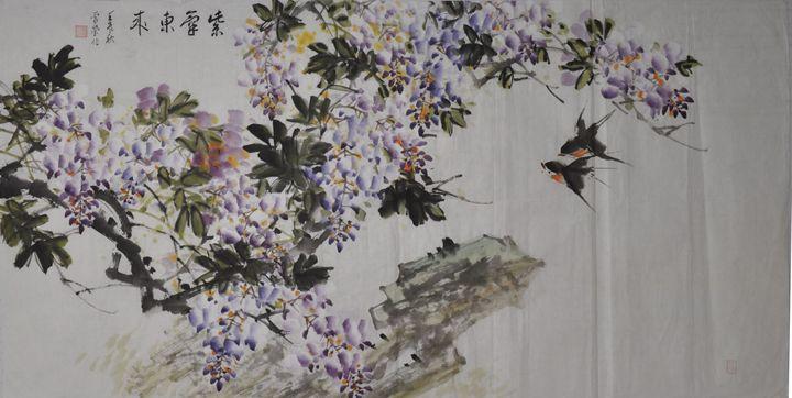 purplevine and birds - inkdancingpainting