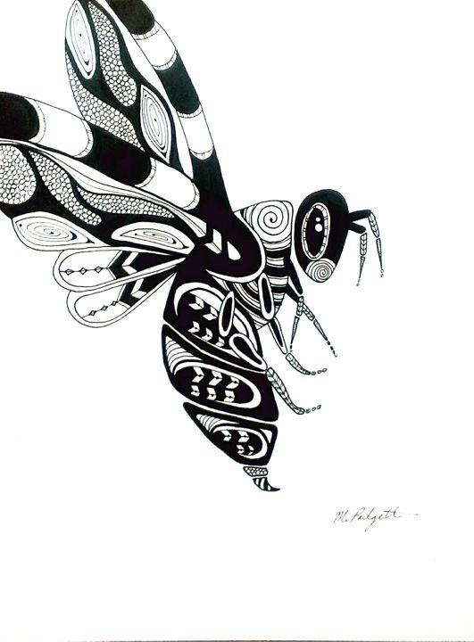 Bumble Bee, Original Drawing - JargenInk