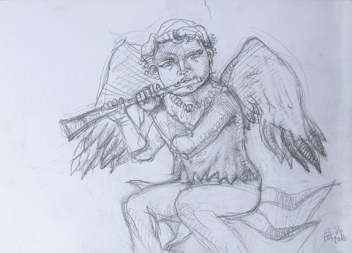 Young Michael Playing Flute Original - Vanyska Design