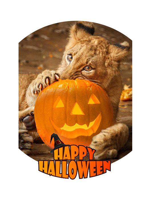 Happy Halloween with Cute Lion - Vanyska Design