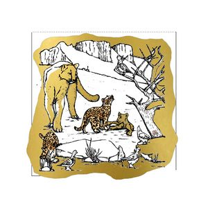 Wild Life - Leopard Family on Gold