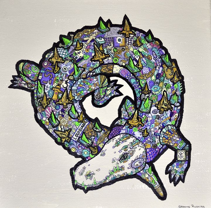 Mardi Gras Gator - Rushing Ink