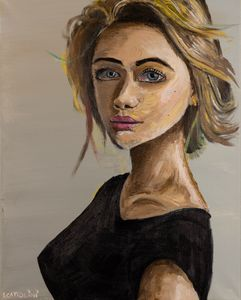Girl with Short Hair and Long Neck