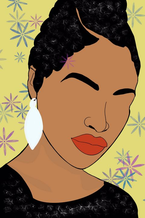Black woman with white earring - AnuKumari Verma