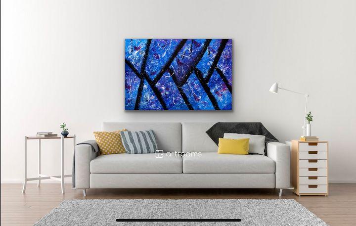 Acrylics Blue Texture Abstract Art - AnuKumari Verma