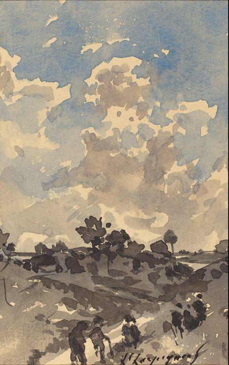 Henri Harpignies~A Landscape with Fi - Treasury Classic