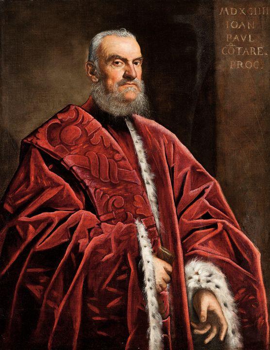 Tintoretto~Retrato a tres cuartos de - Treasury Classic