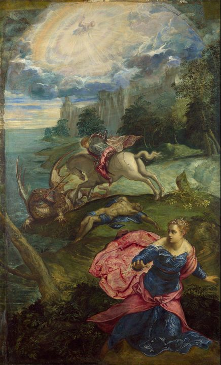 Tintoretto~Saint George and the Drag - Treasury Classic