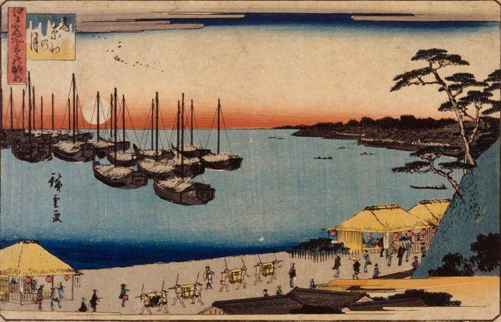 Hiroshige~(sailboats in harbor) - Treasury Classic