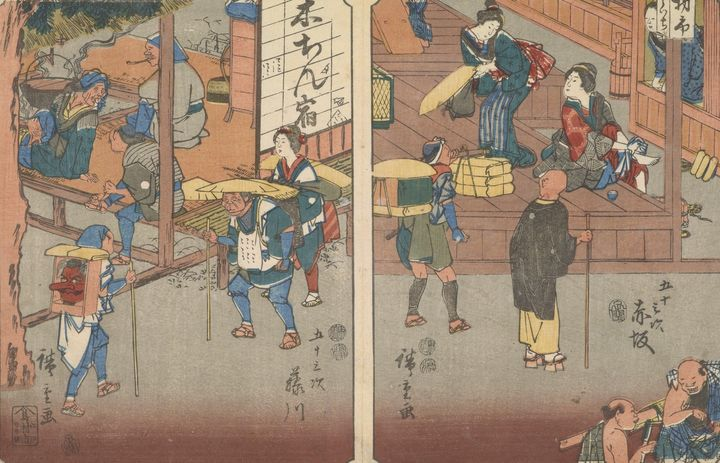 Hiroshige~Akasaka and Fujikawa, from - Treasury Classic