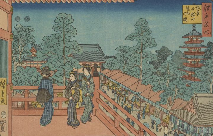 Hiroshige~Asakusa Kinryuzan, from th - Treasury Classic