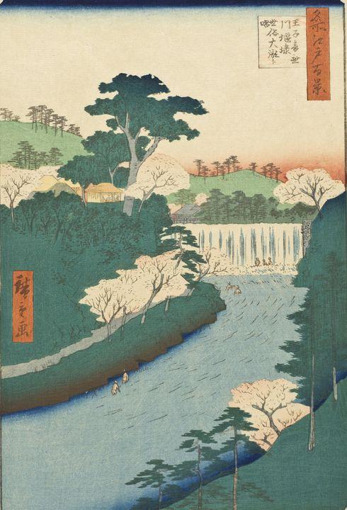 Hiroshige~Dam on the Otonashi River - Treasury Classic