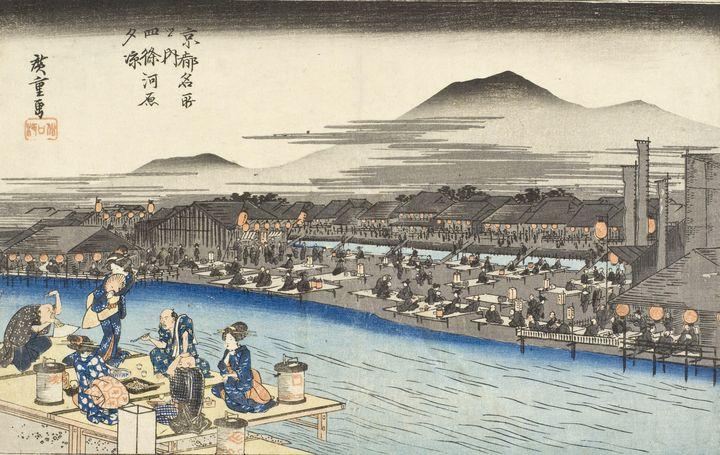 Hiroshige~Evening Cool at Shijokawar - Treasury Classic