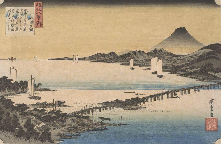 Hiroshige~Evening Glow at Seta, from - Treasury Classic