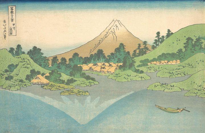 Hokusai~冨嶽三十六景 甲州三坂水面Reflection in L - Treasury Classic