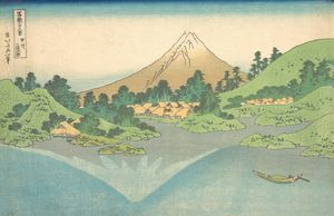 Hokusai~冨嶽三十六景 甲州三坂水面Reflection in L