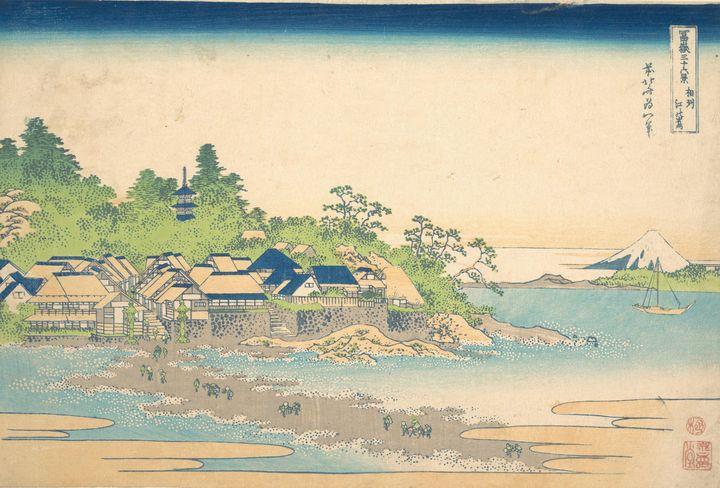 Hokusai~冨嶽三十六景 相州江の島Enoshima in Saga - Treasury Classic