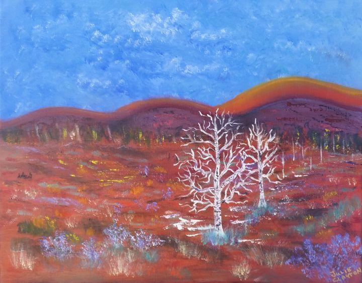 Junipers At the Badlands - High Desert Reflection, by Julie Clayton