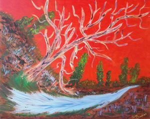 Red Sky Behind the Agate Tree