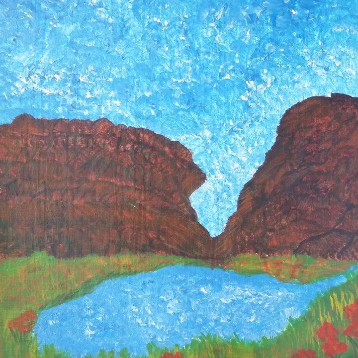 River Rim Canyon Pond - High Desert Reflection, by Julie Clayton