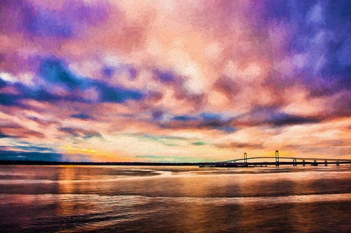 Newport Bridge Sunset - Beach People
