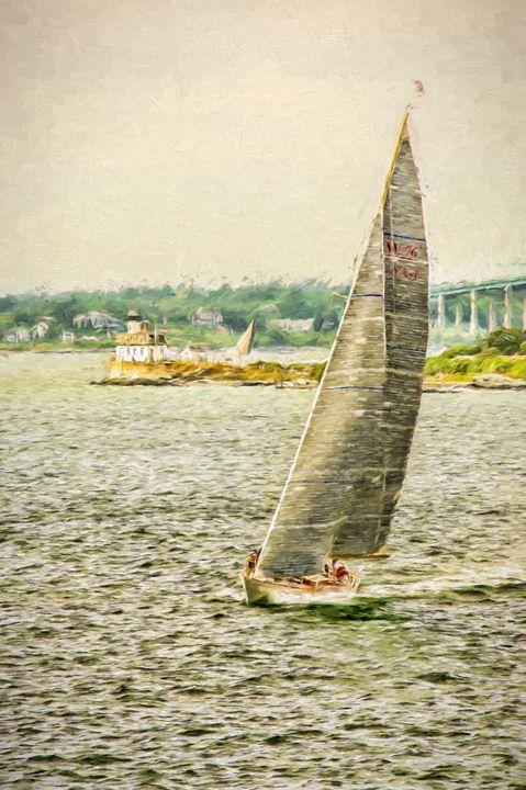 Vintage Sailboat at Rose Island - Beach People