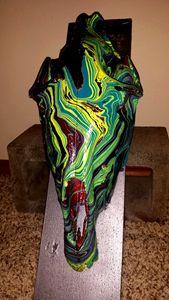 Hydro-Swirl Dipped Donkey Skull