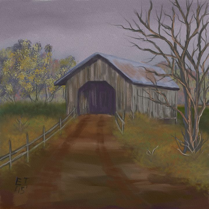 Misty Covered Bridge - Ellie Taylor Artist