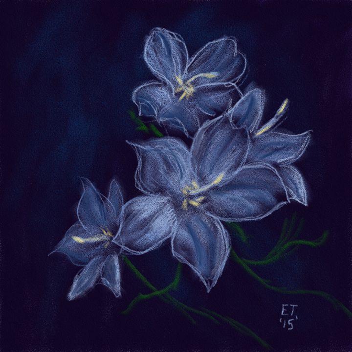 Blue Pastel Flowers - Ellie Taylor Artist