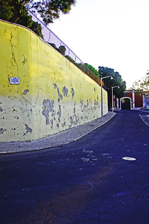 Lisbon Yellow Wall - City Streets by Paul Rausch