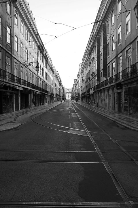 Lisbon Black and White - City Streets by Paul Rausch