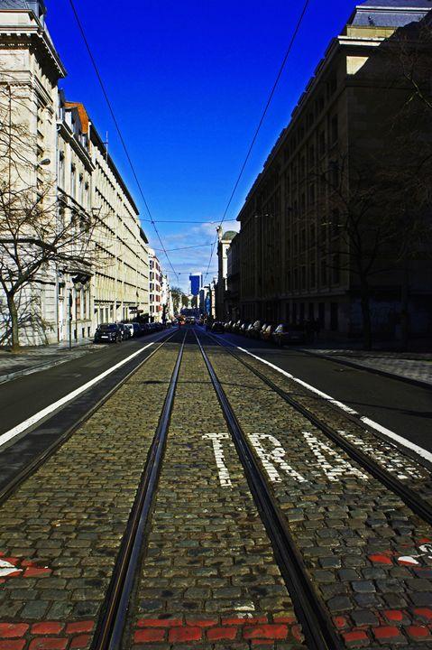 Brussels Tram Street - City Streets by Paul Rausch