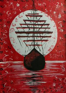 Boat in a red sea on a full moon day