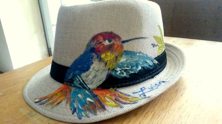 Hummingbird Fedora Art Hat by Luiso - Luiso's Art Portal