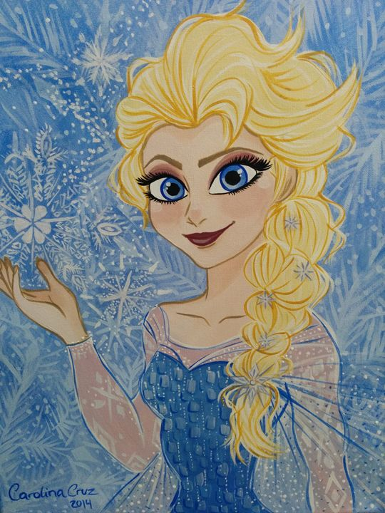 Elsa, Frozen Disney art, canvas acry - Carotoki