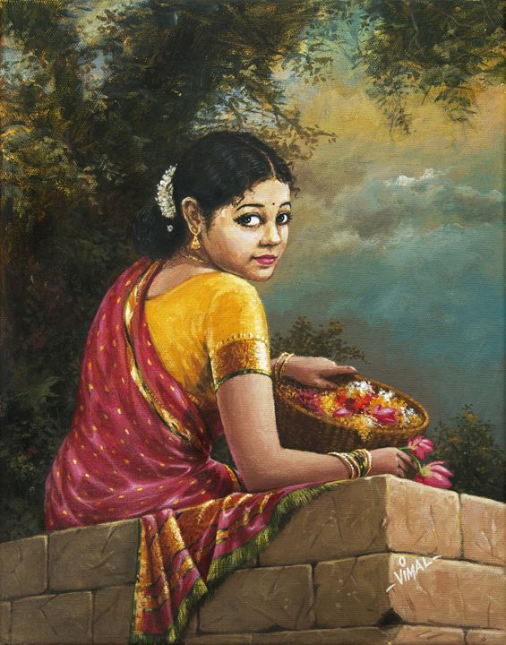 Indian Lady With Flower Basket Vimal Arts Paintings