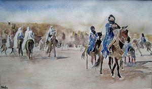 course de chevaux dans le désert