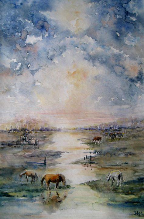 chevaux dans le marais - delaplace