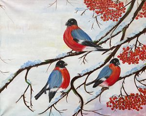 Robins on the mountain ash - Alina Morozova