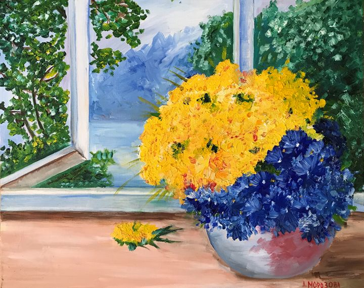 Yellow and blue flowers alina morozova paintings prints yellow and blue flowers alina morozova mightylinksfo